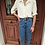 Thumbnail: Vintage Embroidered Collar Blouse in Cream White