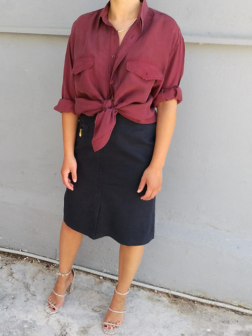 Vintage Midi Linen Skirt in Navy Blue