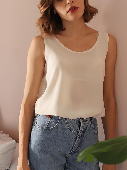 90s Vintage Silk Top in Cream White - (EU46)