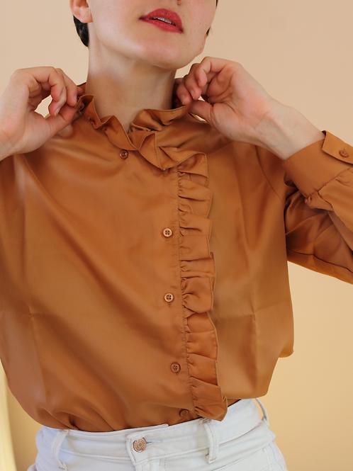 Vintage Ruffle Collar Blouse in Caramel Brown