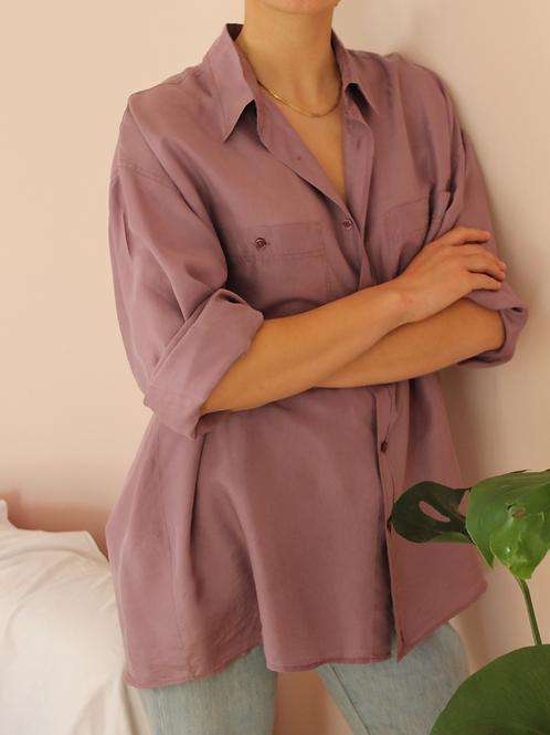 90s Vintage Silk Shirt in Pastel Purple - (EU54)