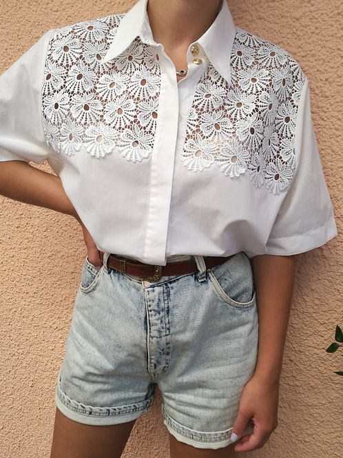 Vintage Embroidered Blouse in White