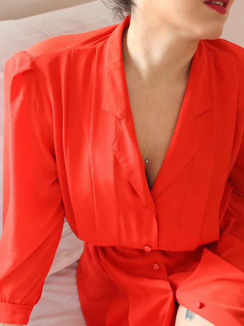 Vintage 90s Buttoned Up Tea Dress in Red