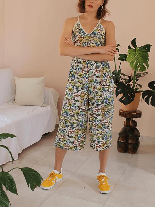 90s Vintage Floral Jumpsuit in White - (EU46)
