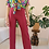 Thumbnail: 70s Vintage  High Waisted Trousers in Hibiscus Red, W27/L28