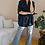 Thumbnail: 70s High Waisted Flares in Blue Check Print, W32/L30