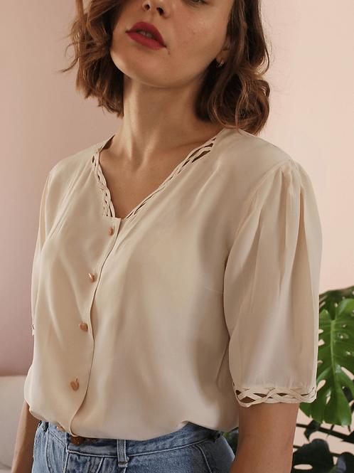90s Vintage Silk Blouse in Cream - (EU46-48)