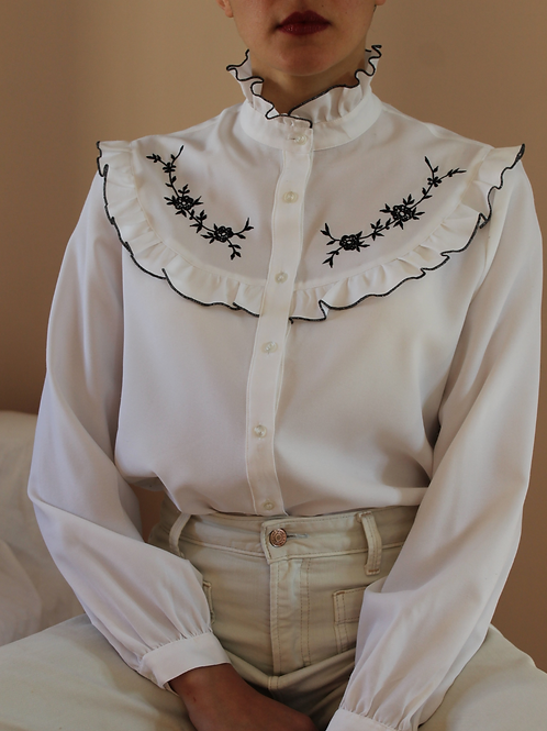 80s Vintage Statement Collar Blouse in White