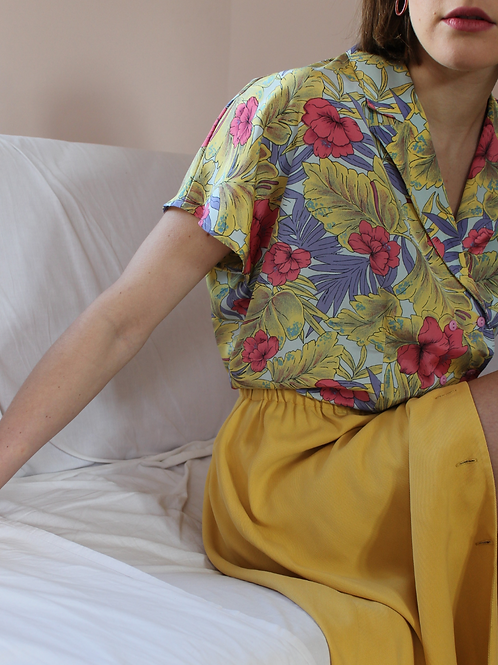 90s Vintage Button Down Skirt in Yellow ( EU 38-40)