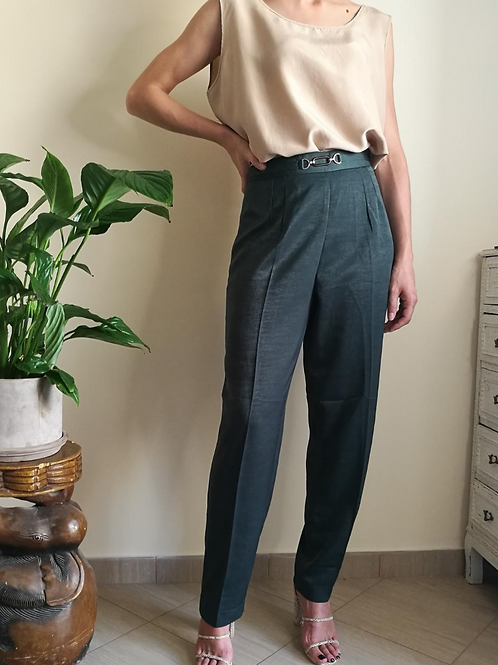 Vintage Straight Leg  Silk Mix Trousers in Green