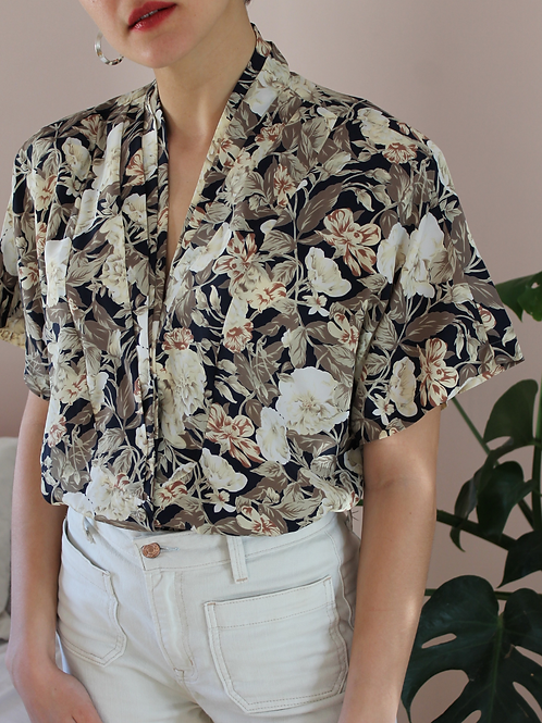 90s Vintage Floral Blouse with Short Sleeves  - (EU 46)