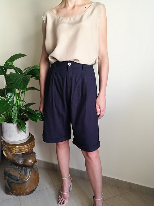 Vintage High Waisted Shorts in Navy Blue