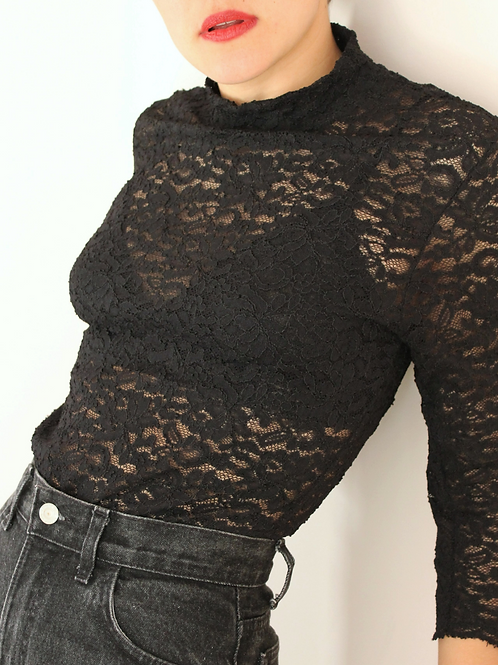 90s Vintage High Neck Lace Blouse in Black