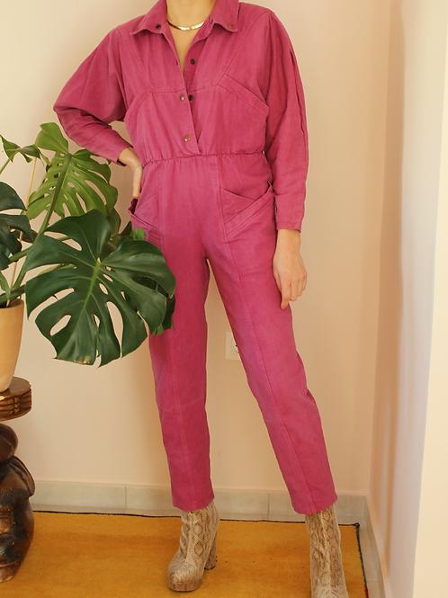 Vintage 90s Denim Jumpsuit in Pink