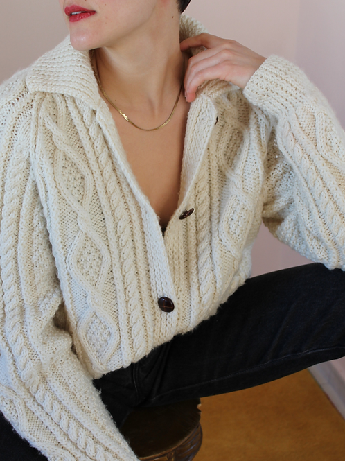90s Vintage  Cable Knit Cardigan in Cream