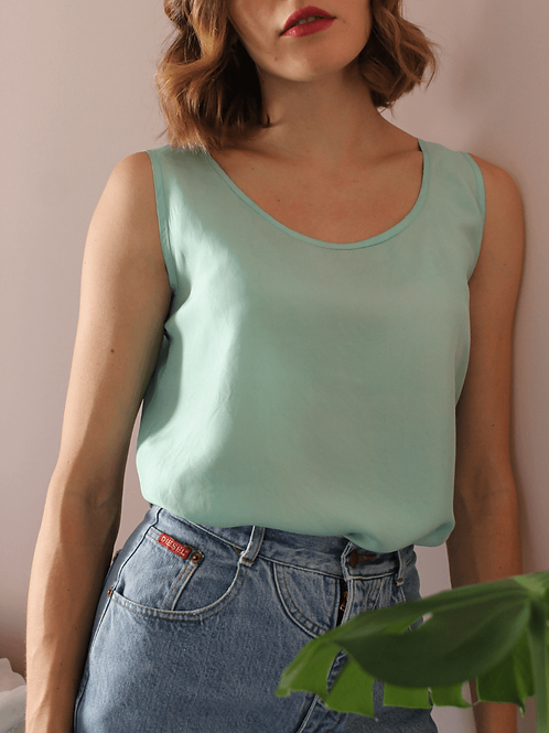 90s Vintage Silk Top in Turquoise - (EU42-44)
