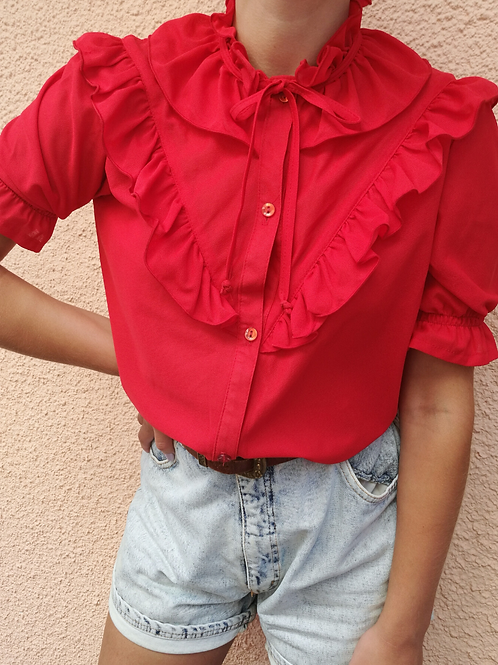 Vintage Ruffle Neck Blouse in Red