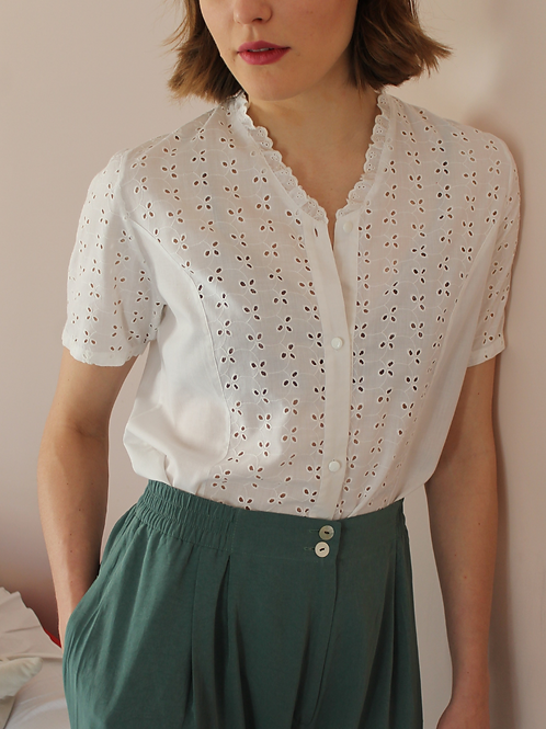 90s Vintage Cut Out Blouse in White - (EU46)