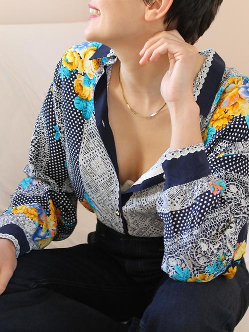 90s Vintage Versace Style Print Collar Blouse