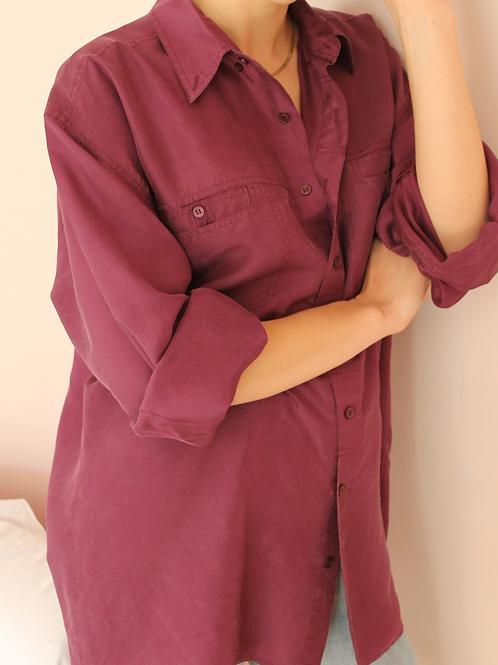 90s Vintage Silk Shirt in Magenta Purple - (EU50-52)