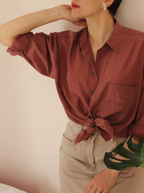90s Vintage Silk/Cotton Shirt in Terra Cotta - (EU48)