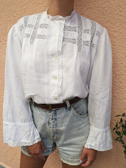 Vintage Embroidered Blouse in White with Bell Sleeves