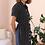 Thumbnail: Vintage 100% Silk Dress in Navy Polka Dot - (EU42)