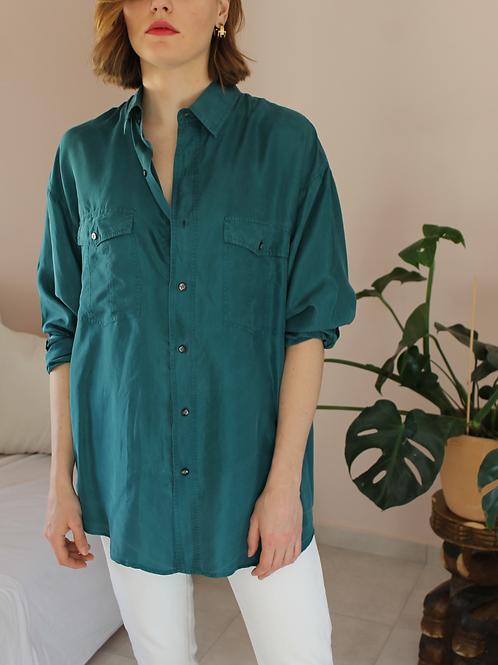90s Vintage Silk Shirt in Emerald Green - (EU50)
