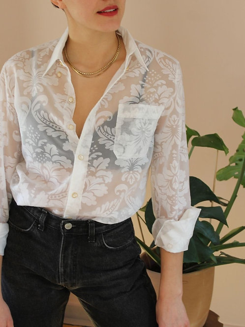 90s Vintage Floral Blouse in White