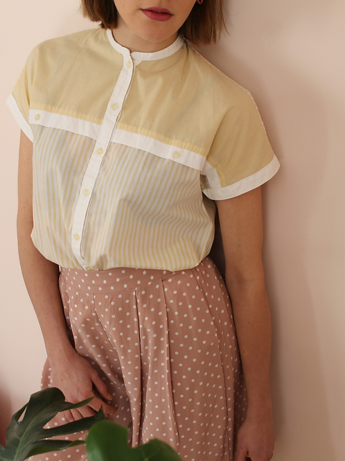 90s Vintage Striped Blouse in Yellow - (EU44)