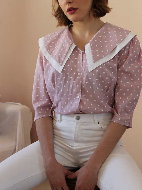 90s Vintage Statement Blouse in Pink - (EU44)