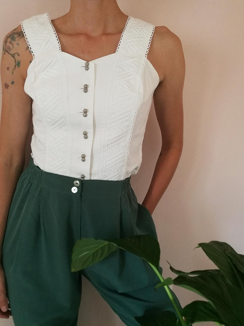 Vintage Embroidered Top in White