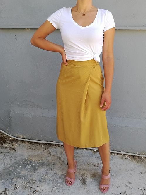 Vintage Midi Skirt in Warm Yellow