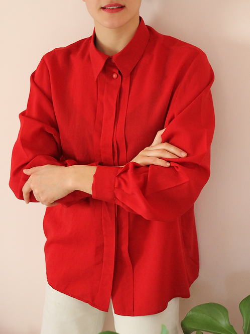 90s Vintage Minimalist Blouse in Red