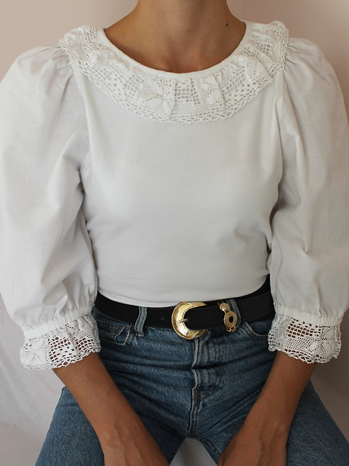 Vintage Puff Sleeves Blouse in White
