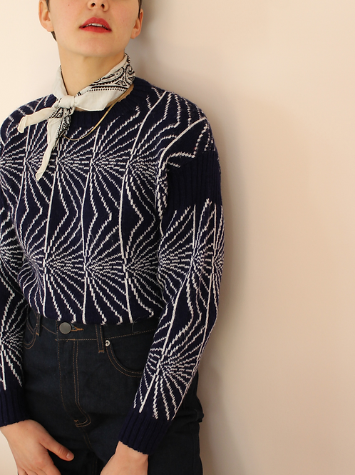 90s Vintage Knit Sweater in Blue Print