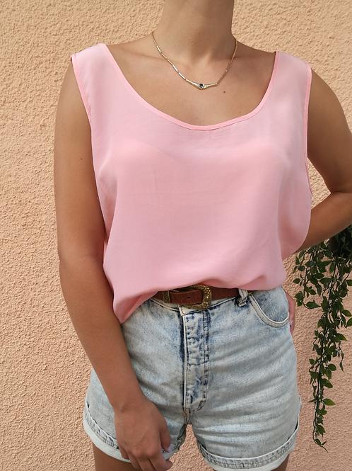 Vintage Silk Blouse in Pastel Pink