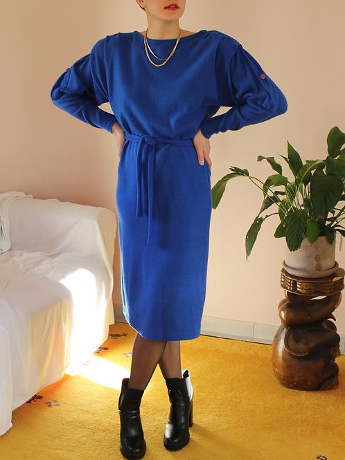 Vintage Puff Sleeves Slip Dress in Blue
