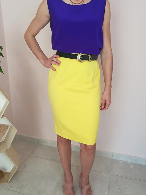 Vintage Pencil Skirt in Lemon Yellow