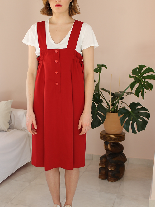 90s Vintage Straps Day Dress in Red- (EU44-46)