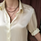 Thumbnail: Vintage Collared Silk Blouse in Pale Yellow - Beige