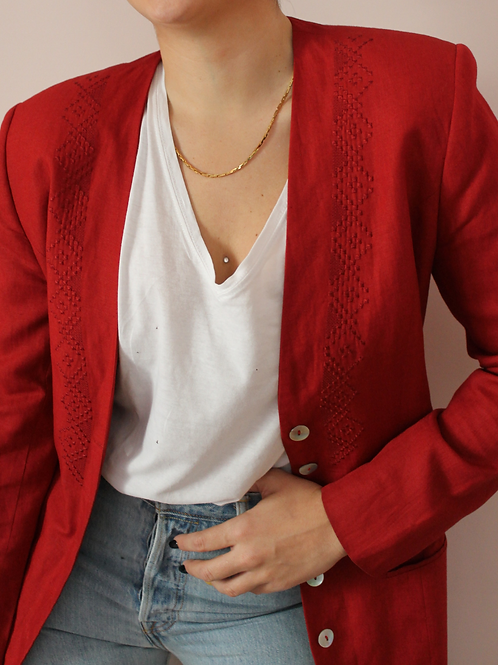 Vintage 90s Linen Blazer in Wine Red