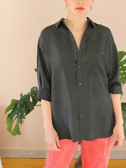 90s Vintage Silk Shirt in Black - (EU46-48)