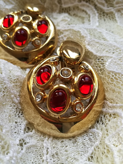 Vintage Gold Toned Clip On Statement Earrings with Red Stones
