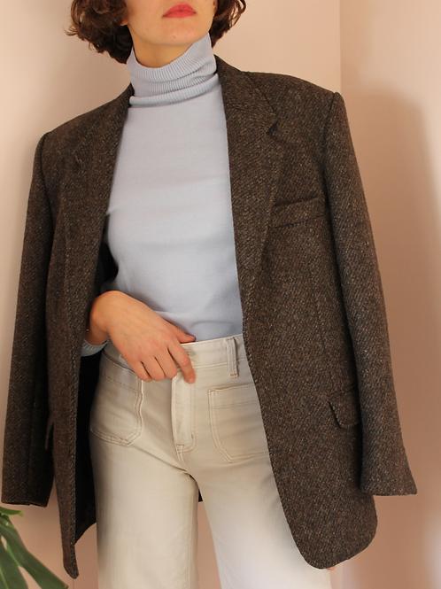 Vintage Oversized Wool Blazer in Brown