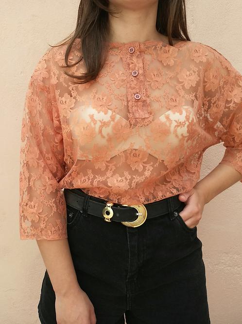 Vintage Romantic Lace Blouse in Burnt Orange
