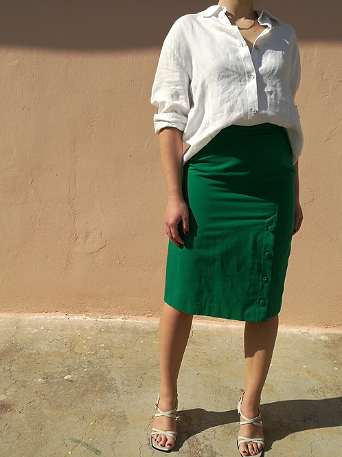 Vintage Pencil Cotton Skirt in Green