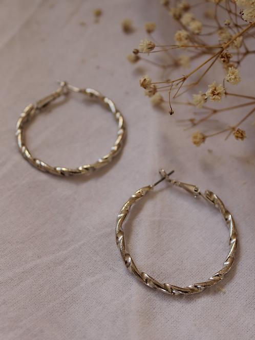 80s Vintage Silver Plated Hoop Earrings