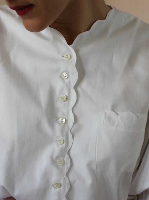 90s Vintage Wave Blouse in White - (EU46)