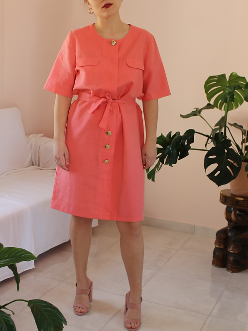 90s Vintage Linen Dress in Coral - (EU52)